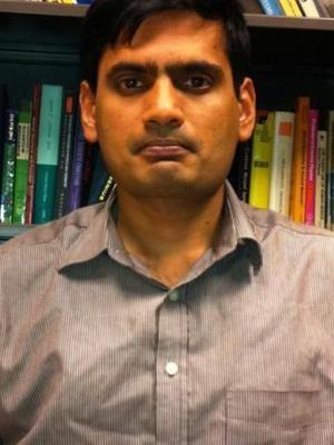 Manoj Srinivasan in his office